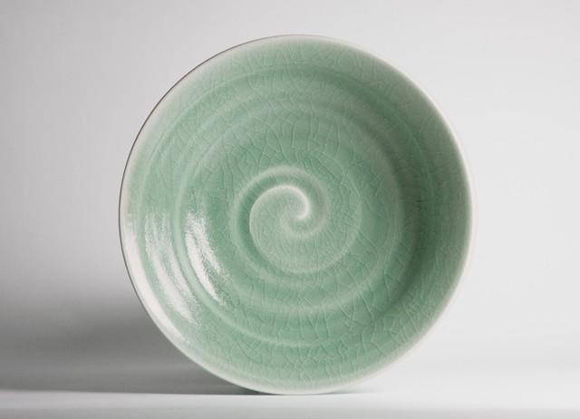 御室焼仁秀 ひすい 手挽き「フリー鉢」(21cm)