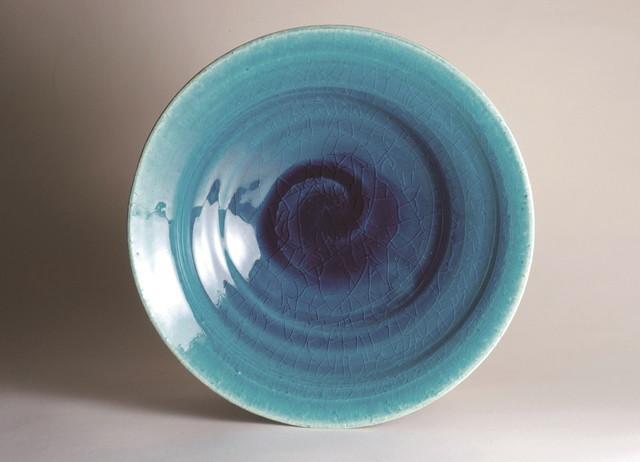 御室焼仁秀 蒼空(そうくう) 手挽き「フリー鉢」(21cm)